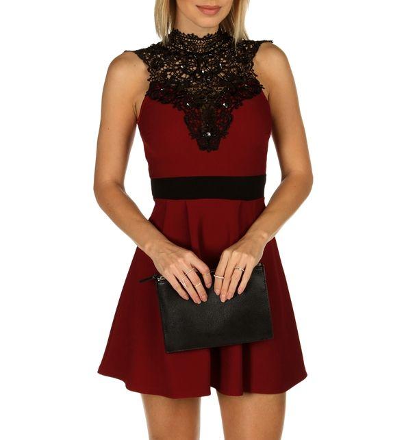 53f707cc9a Burgundy Jeweled Skater Dress