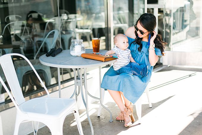 07ed3abb4915 Chicwish denim off the shoulder dress    Coffee Date    Mom life    Spring  outfit    Off the shoulder dress    Denim dress    Sam Edelman sandals .