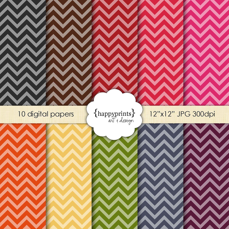 Scrapbook paper design - Digital Paper Pack Chevron Rainbow Scrapbook Paper Design Pattern And Background