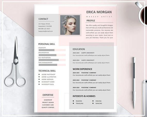 Pink Resume Template Pink Cv Template Creative Resume Template Design Professional Resume Template Instant Download Resume Template Word Resume Design Creative Resume Design Creative Cv