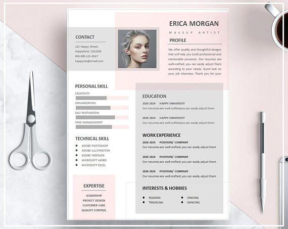 Pink Resume Template Pink Cv Template Creative Resume Template Design Professional Resume Template Instant Download Resume Template Word Cv Kreatif Desain Cv Desain Resume