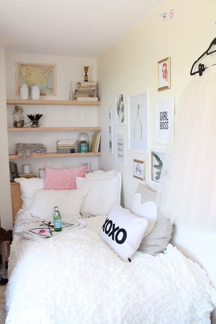 My 3 Decor Tips To Decorate A Dorm Room Jillian Harris Cute Dorm Rooms Dorm Room Decor Small Room Design