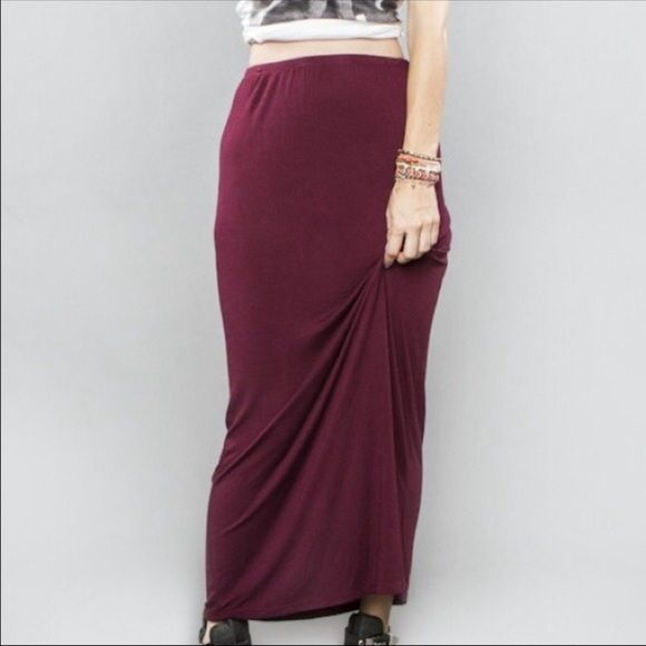 Brandy Melville Maxi In burgundy. Side slit. Brandy Melville Skirts Maxi