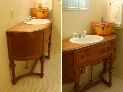 Reused Furniture antique furniture turned into bathroom vanity | bathroom antique