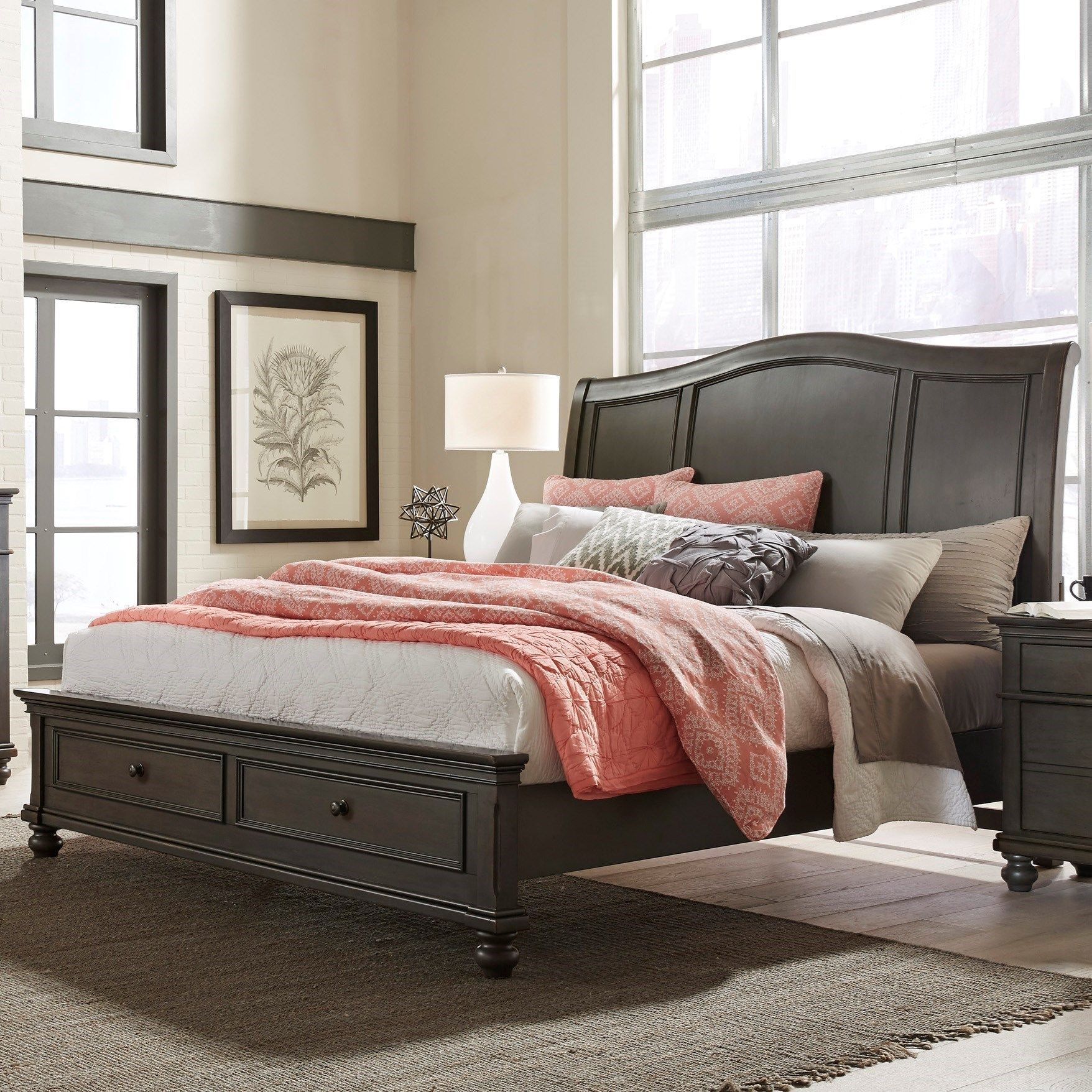 oxford queen sleigh storage bed by aspenhome decorating