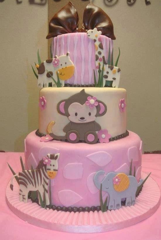 Cute child girl safari theme cake Seems to be good for child bathe - baby shower nia