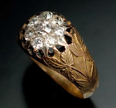 Diamond Cluster Rings Sale Antique Russian Gold and Diamond Ring