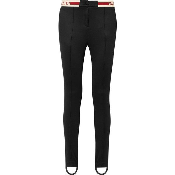 Gucci Striped tech-jersey stirrup leggings ($735) ❤ liked on Polyvore  featuring pants
