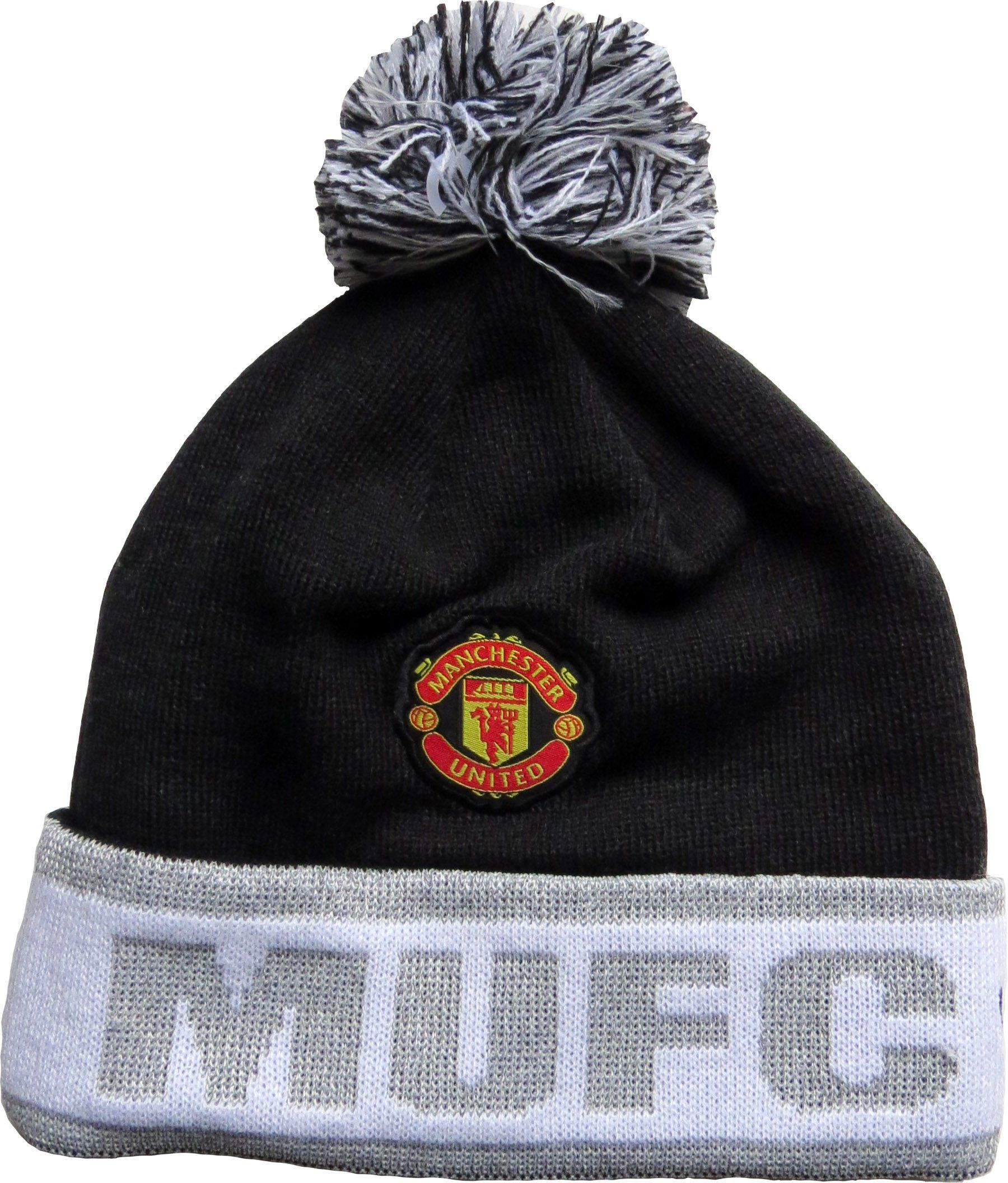 New Era Manchester United Bobble Hat Black With The Team
