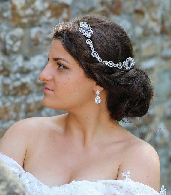 Sapphire Blue Vintage Style Crystal Hair Comb Bridal