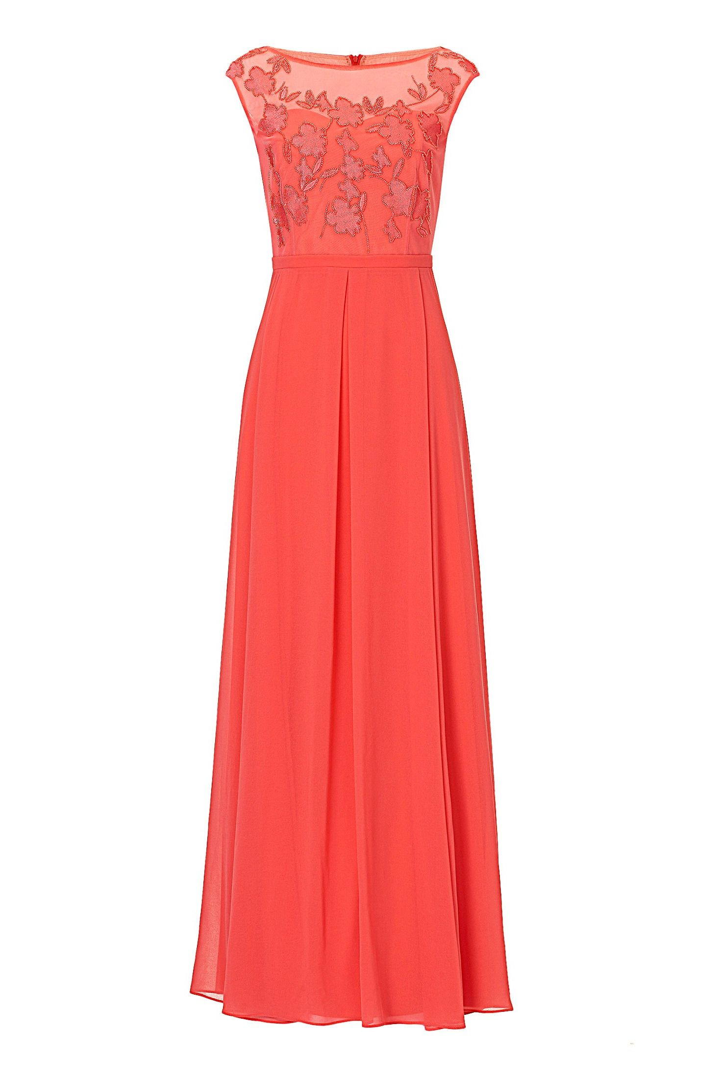 Langes Abendkleid Chiffon Koralle Vera Mont Mode Bosckens Chiffon Evening Dresses Dresses Evening Dresses Long