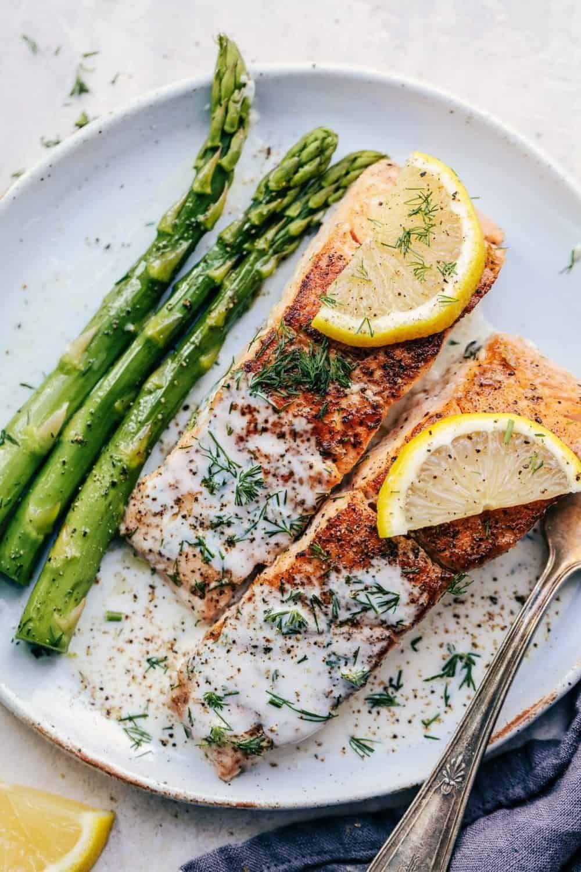 Pan Seared Salmon with a Creamy Lemon Dill Sauce #searedsalmonrecipes