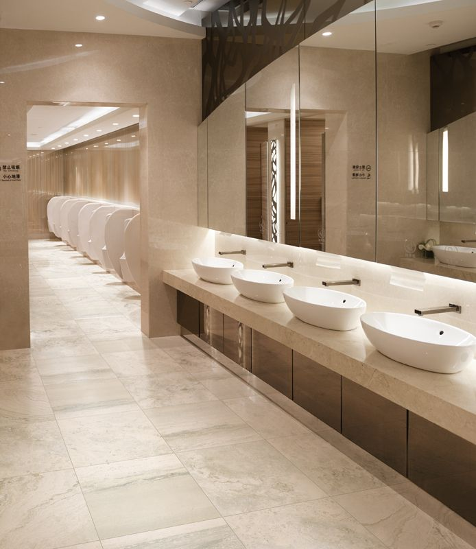 Squared Shaped Touch Free Wall Mounted Faucet Washroom Design Commercial Bathroom Designs Restroom Design Bathroom installation companies near me