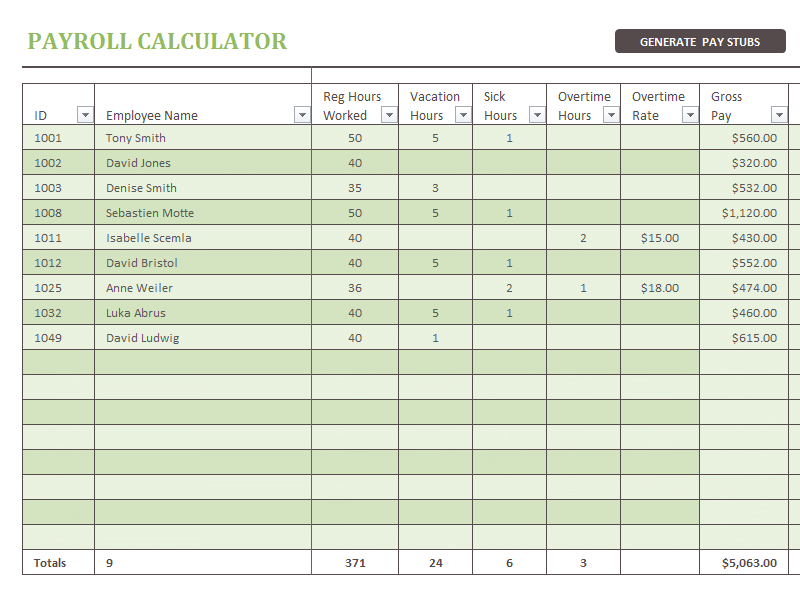 The Payroll Calculator Is Used To Automatically Generate The