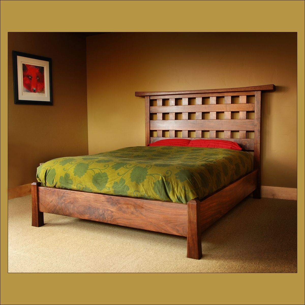 Japanese Garden Queen size Bed Bed frame and headboard