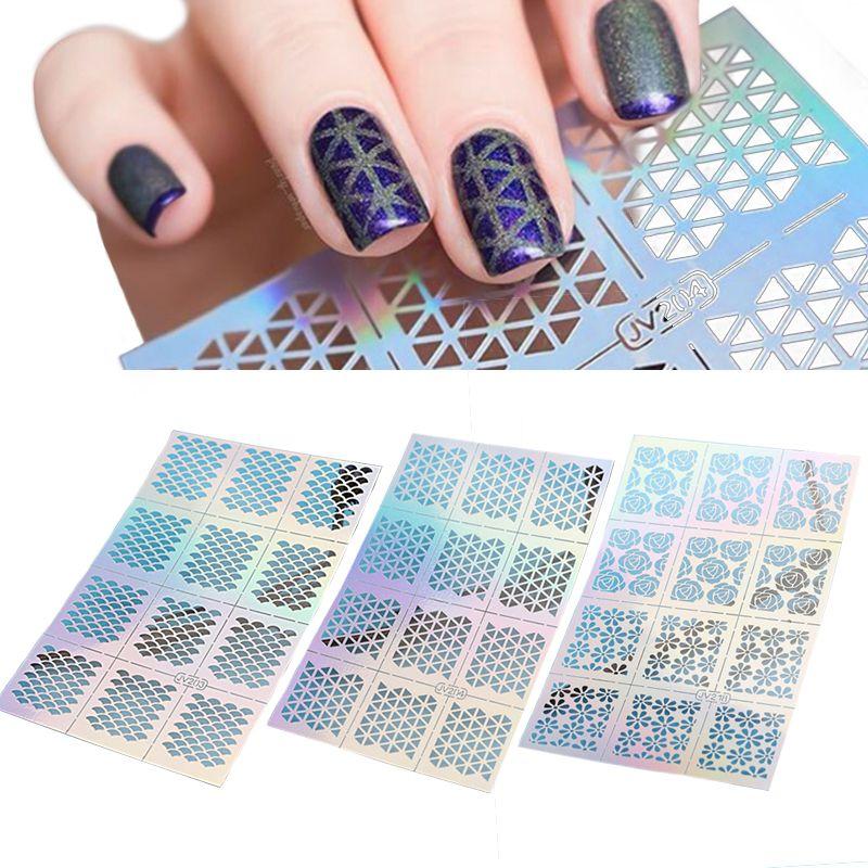 12 팁/시트 물고기 규모 네일 비닐 불규칙한 삼각형 그리드 패턴 쉬운 사용 네일 아트 팁 매니큐어 스텐실 네일 중공 스티커