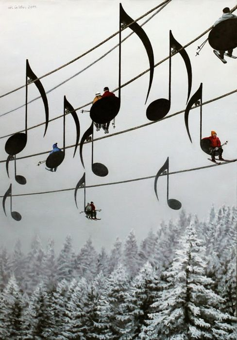 ✯ Musical notes skies chair lift ✯
