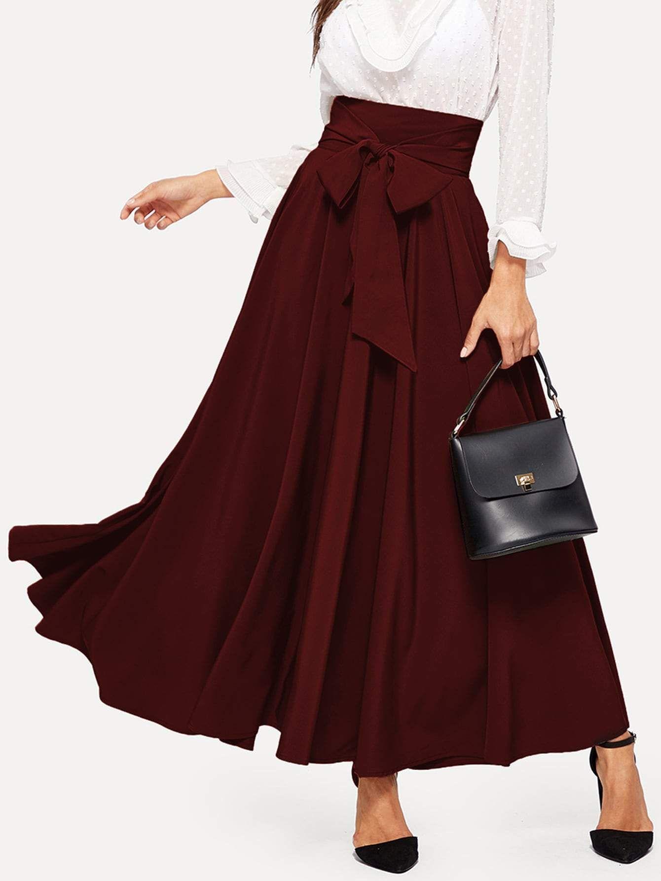Bow Tie Wide Waistband Maxi Skirt