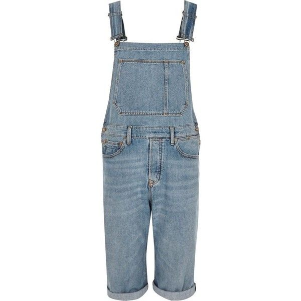5f11f9b086c8 River Island Light blue wash cropped overalls (745 MXN) ❤ liked on Polyvore  featuring men s fashion