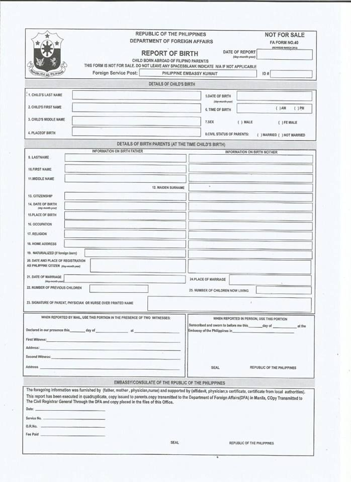 Issuance of New Passport and Report of Birth - Pilipino sa Kuwait - best of invitation letter format for embassy