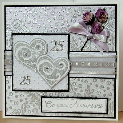 On The Cards Silver Wedding Anniversary Card Anniversary Cards Handmade Silver Wedding Cards Wedding Anniversary Cards