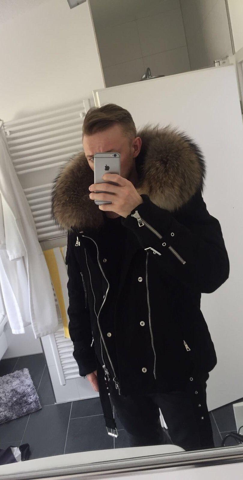 balmain t240b790f hooded raccon fur jacket black 100. Black Bedroom Furniture Sets. Home Design Ideas
