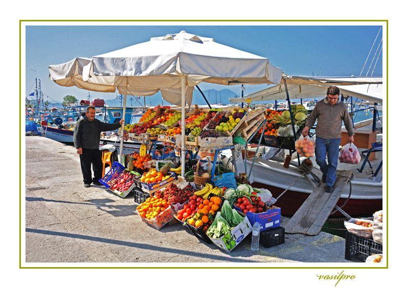 Aegina's port. Port Market through the eyes of vasilpro