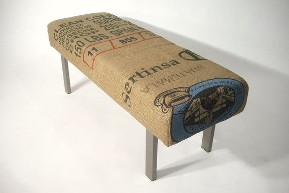 """coffee bag """"cushion"""" maybe i can do this with the burlap bags laying around"""