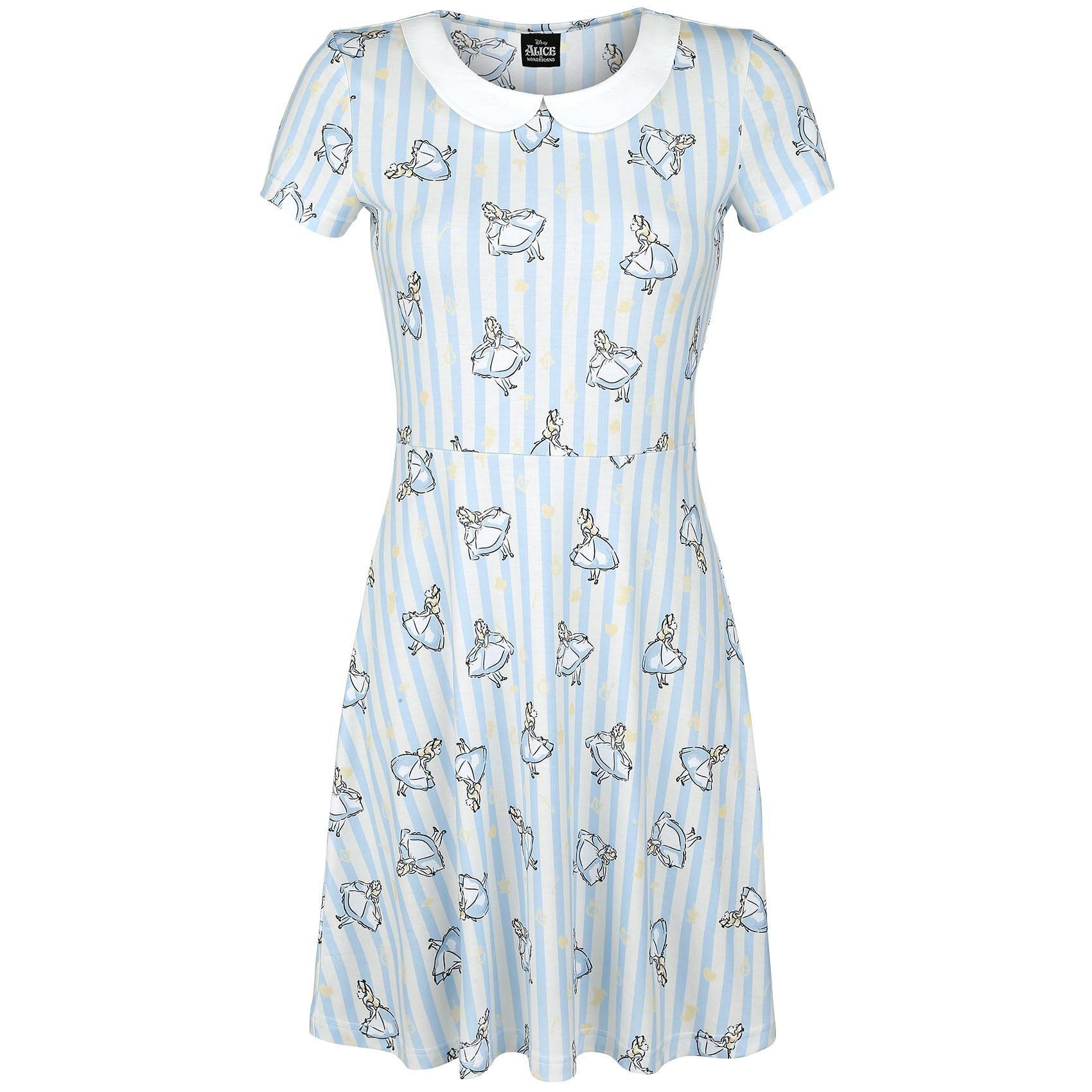 """Alice im Wunderland Mittellanges Kleid, Frauen """"Stripes"""" hellblau/altweiß • Jetzt kaufen! • EMP"""