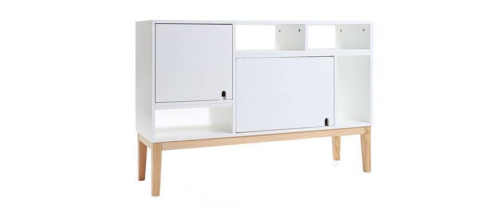 Buffet Design Laque Blanc Mat Et Bois Skal Miliboo Buffet Design Meuble Design Mobilier De Salon