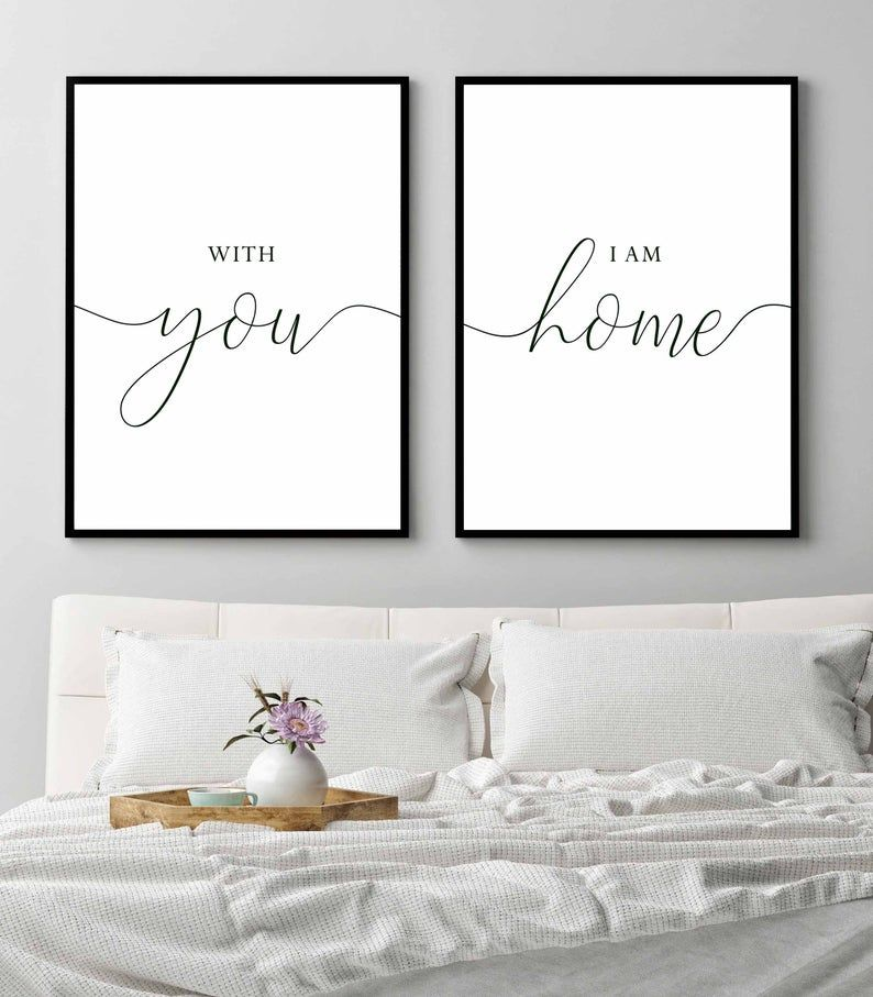 With you I am homeHome decorHome signBedroom wall artHome | Etsy
