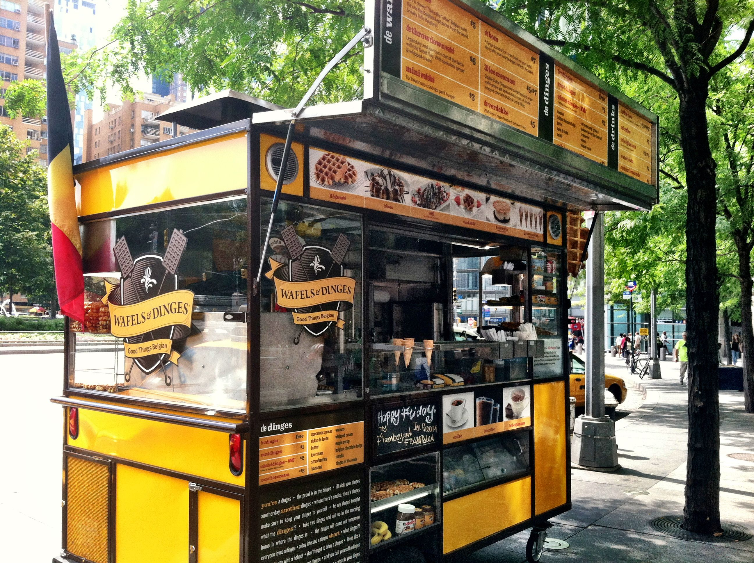 The wafels dinges waffle truck perched in columbus circle