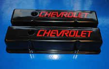 Sbc Small Block Chevy Tall Black Valve Covers 350 383 Red Logo