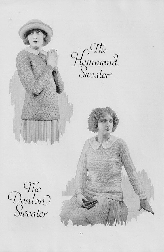 1920s Sweater Pattern the Hammond and the Denton by ...
