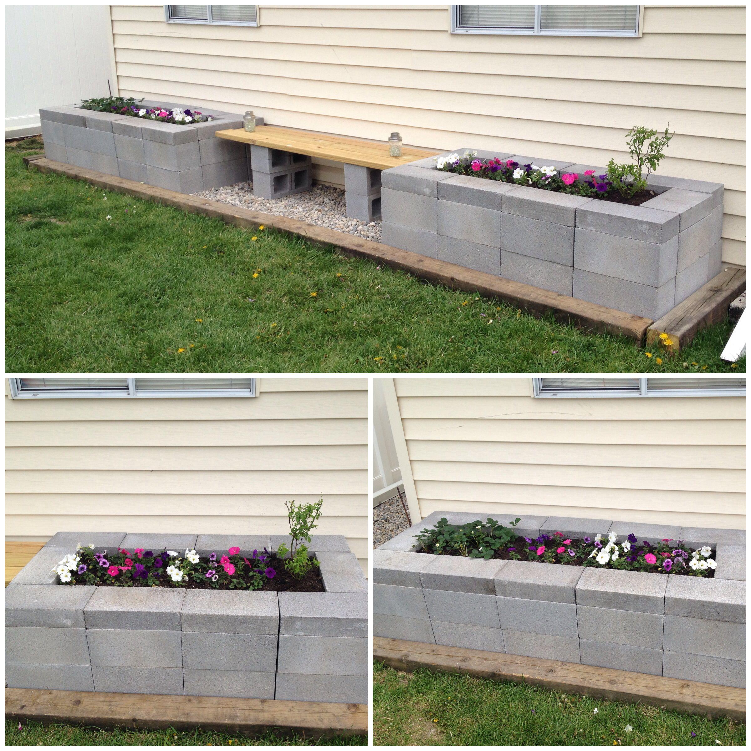 Concrete Block Garden Bed: Cinder Block Raised Garden Bed With Bench