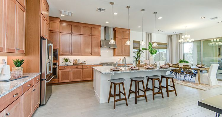Cooking And Dining In Perfect Harmony In 2020 Woodside Homes Kitchen Design New Home Buyer