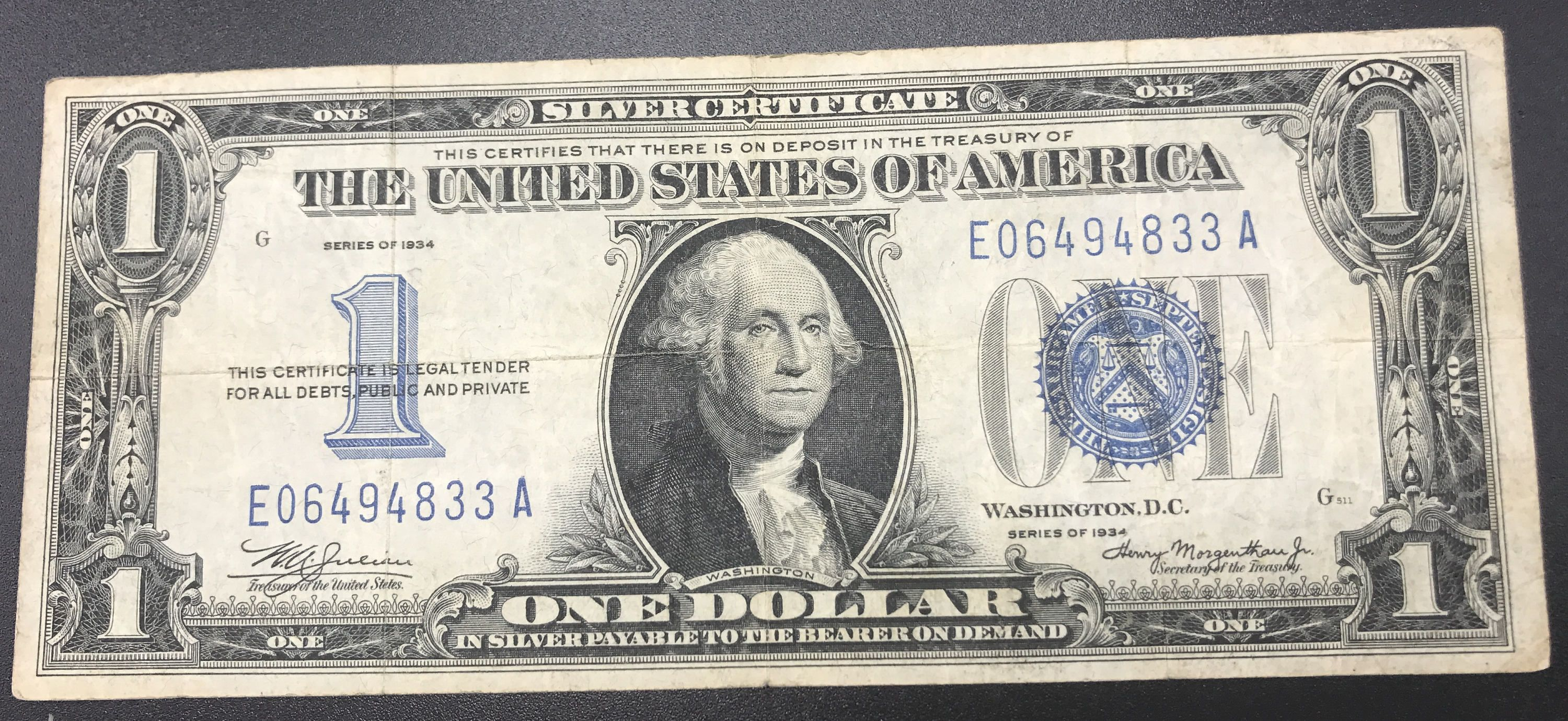 Paper Money Silver Certificate One Dollar E A 1934 United States