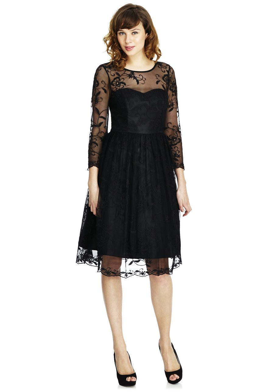 Clothing at tesco fuf signature embroidered floral mesh prom dress