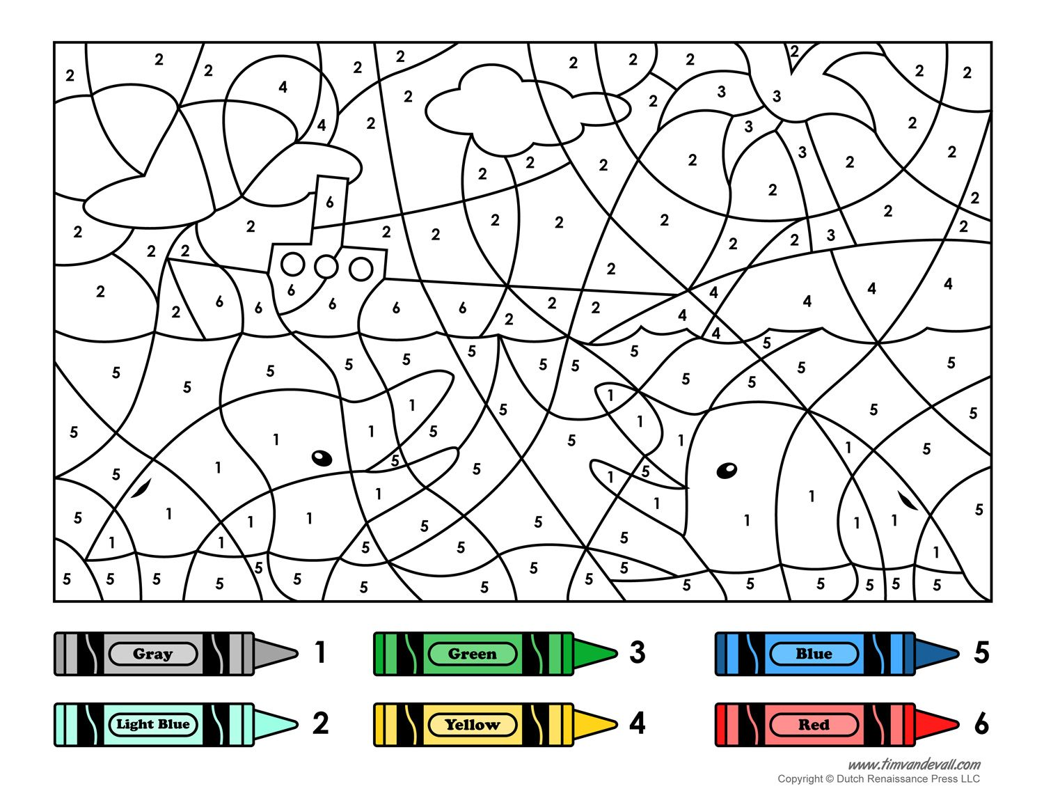 Colouring for kids games - A Color By Number Printable For Kids