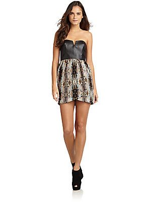 5/48 Rococo Abstract Print & Faux Leather Dress