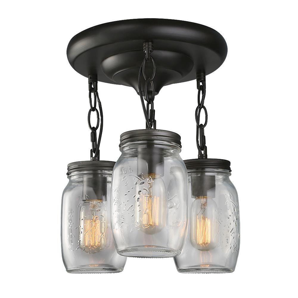 Lnc 10 In 3 Light Bronze Glass Jar Semi Flush Mount Light A02981 The Home Depot Jar Ceiling Light Mason Jar Lighting Jar Lights