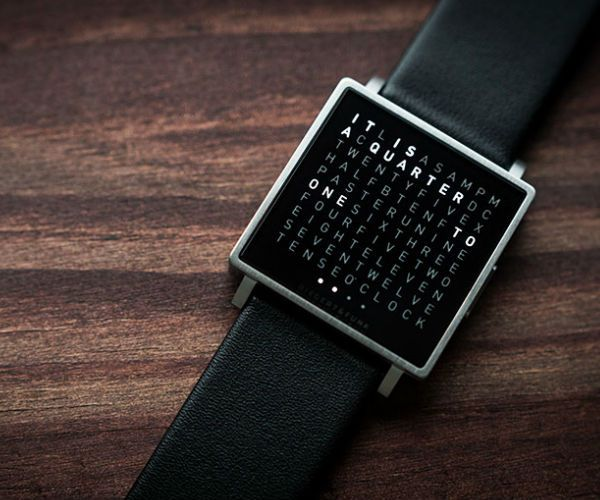 QLOCKTWO W brings the unique principle of the time display with words on your wrist.