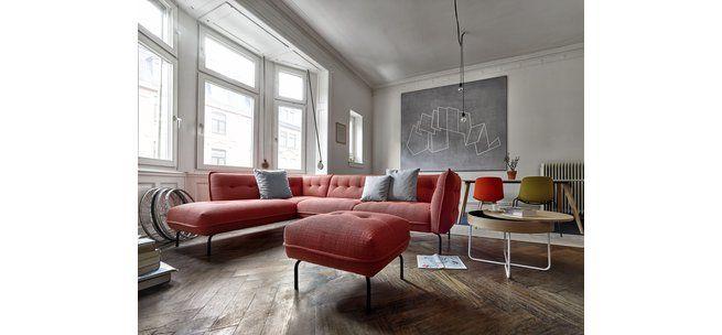 Sofa Hannah Aus Dem Programm Contur RAUMFREUNDE In Rotem Stoffbezug Wohnzimmer CouchRot