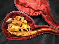 Antique Meerschaum Pipe depicting a Courting Couple with Case
