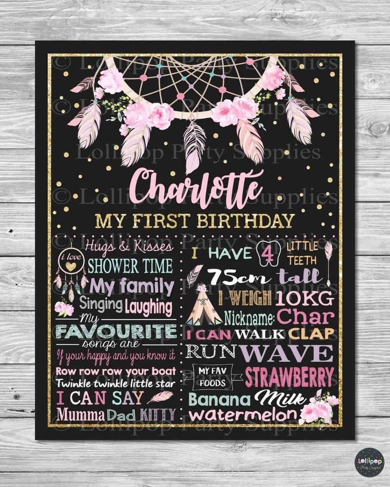 - u print birthday chalkboard sold separately wild one invitation First birthday chalkboard sign dream catcher 1st birthday poster