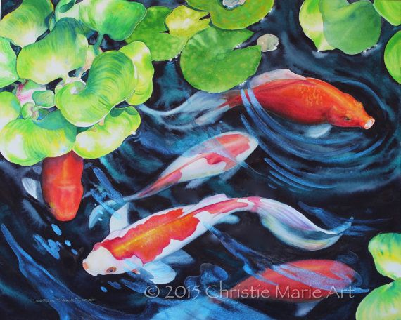 Original watercolor painting koi fish pond art garden art for Decorative pond fish