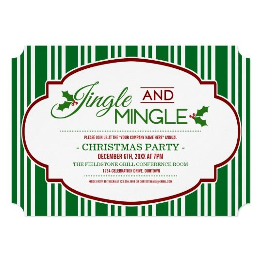 Jingle & Mingle Company Christmas Party Invitation |  Corporate Christmas party invitations for employees.