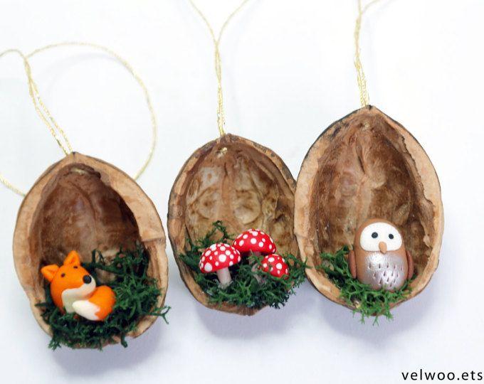 Pilz Weihnachten Ornamente - Nussbaum Muschel Ornament - handgemachte Ornament - Urlaub Dekor #christmasornaments