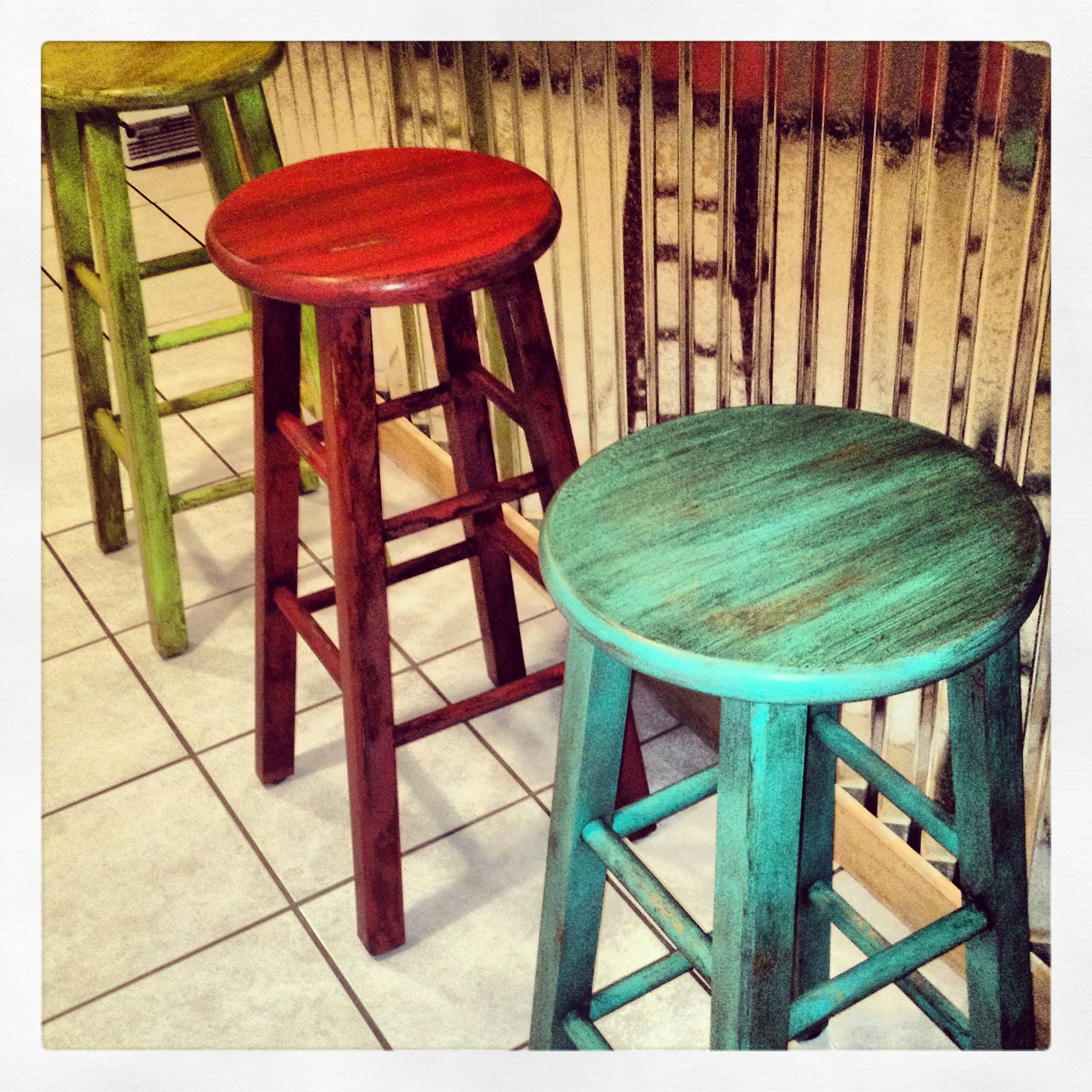 Colorful Wooden Chairs Painted Stools With Glaze Brushed On Beautifulsalvage
