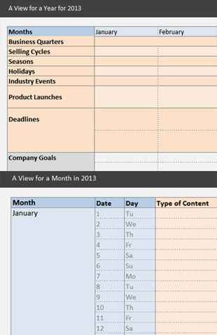 Content Marketing Calendar Template Excel  Printable Planner